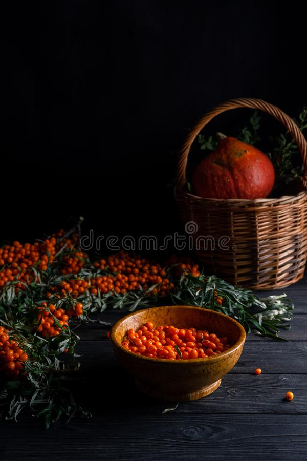 Still life with berries and branches of sea buckthorn, basket on a dark wooden background. Vertical orientation, with copy space, autumn, berry, color, food royalty free stock images