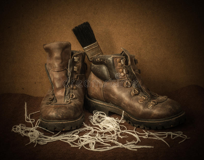 Still life with boots stock images
