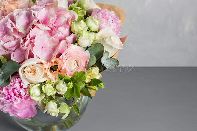 Still Life With A Bouquet Of Flowers. The Florist Put Together A ...