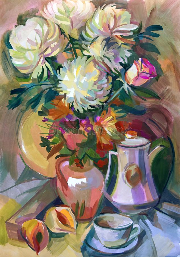 Still life a bouquet of flowers. Hand-drawn in gouache vector illustration
