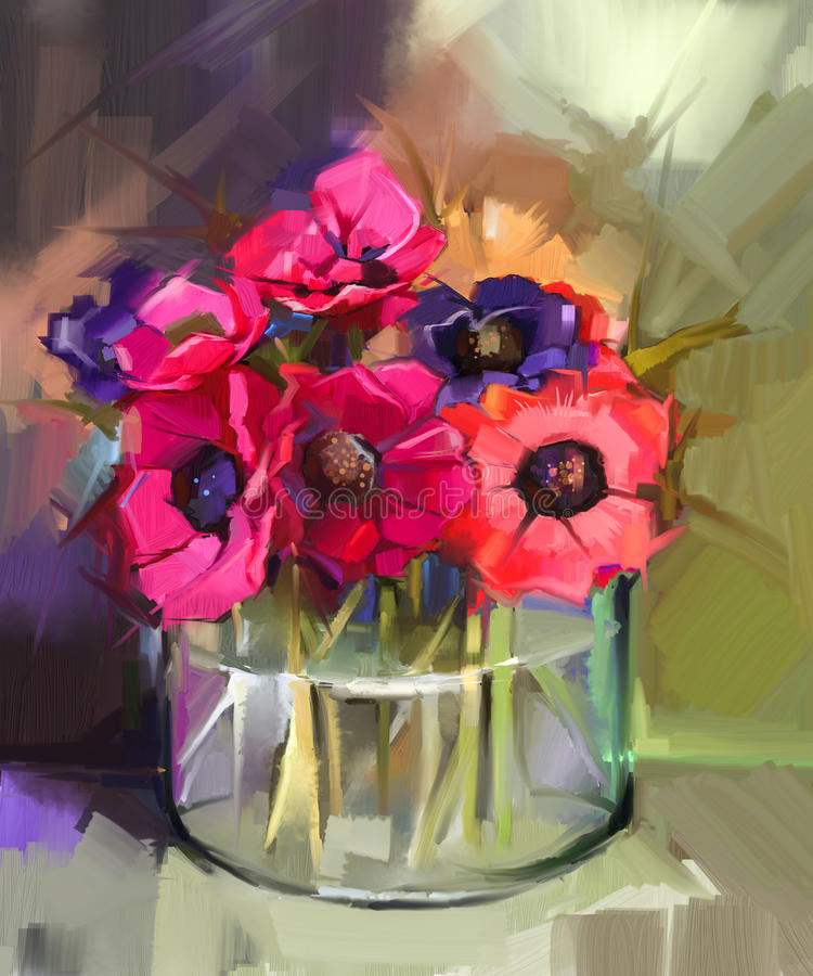 Still life a bouquet of flowers. Oil painting red anemones flower vector illustration