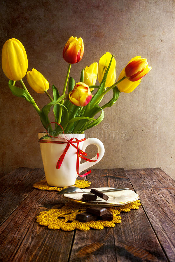 Still life bouquet tulips royalty free stock image