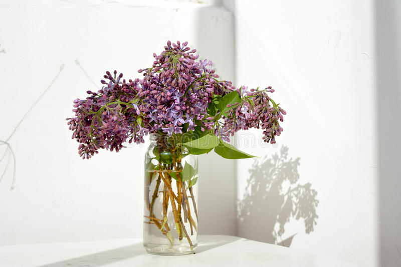 Still life with branches of lilac in a glass jar on the table black background. royalty free stock photos