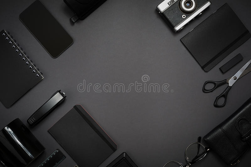 Still life, business, office supplies or education concept. Read. Still life, business, office supplies or education concept : top view image of notepad, mobile stock photography