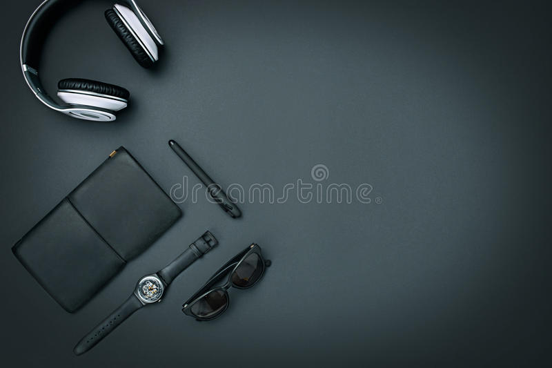 Still life of casual man. Modern male accessories on black stock images
