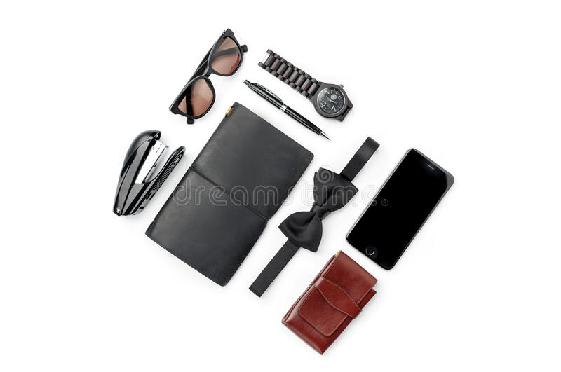 Still life of casual man. Modern male accessories on white stock photography