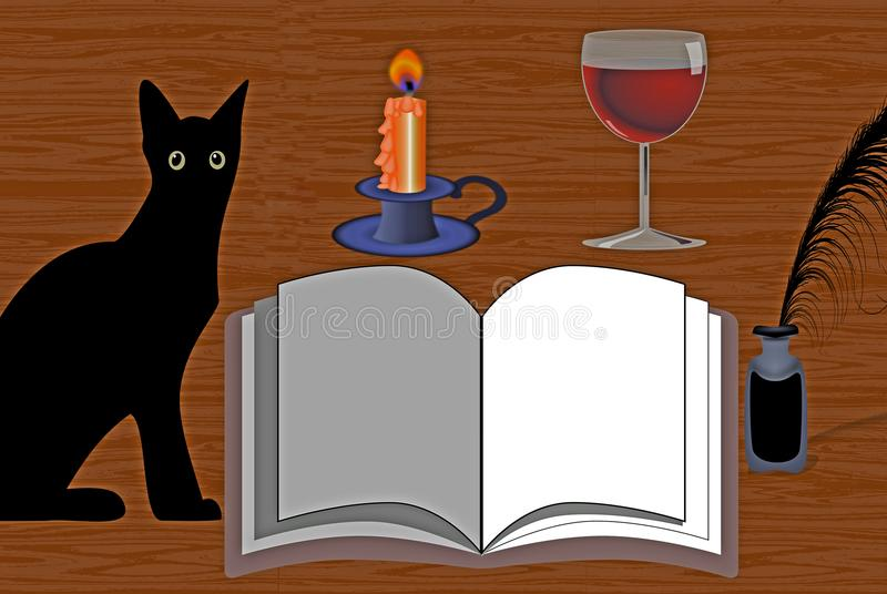 Still Life: Cat with an Open Book, Candle, Wine and Ink. This is a vector illustration. On the left hand side you can see a black cat with green eyes. It is vector illustration