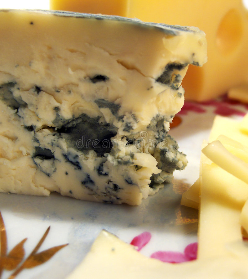 Still life with cheese with mould stock image