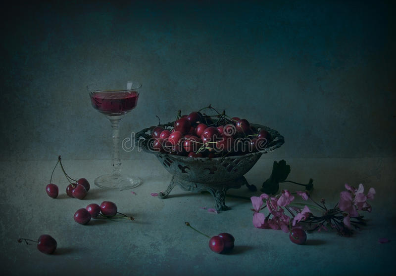 Still life with cherry and wine royalty free stock photos