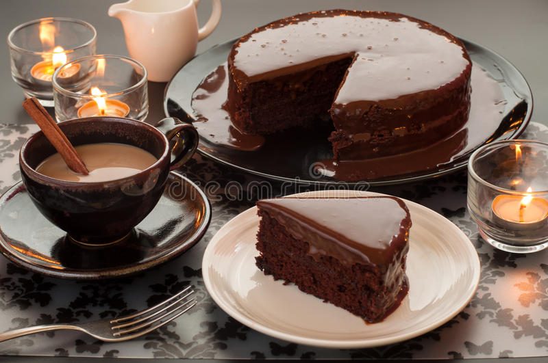 Still Life Of Chocolate Cake And Cup Of Coffee Stock