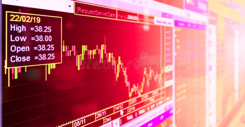 Still life close up shot of candle stick graph chart of stock market investment trading. Live stock trading online with filter. Effect royalty free stock photo