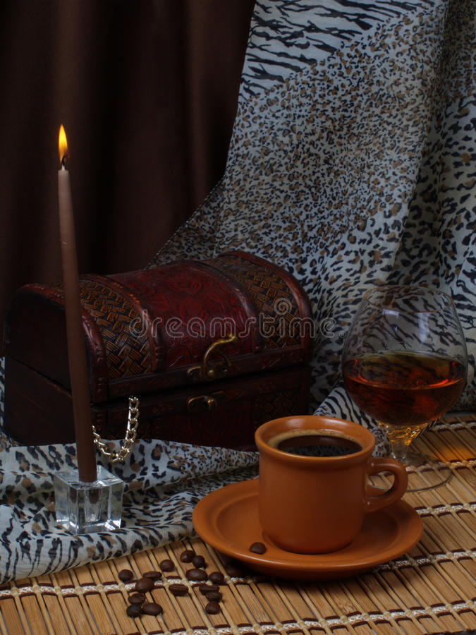 Download Still Life. Coffee, Candle, Alcohol. Stock Photo - Image: 12011890