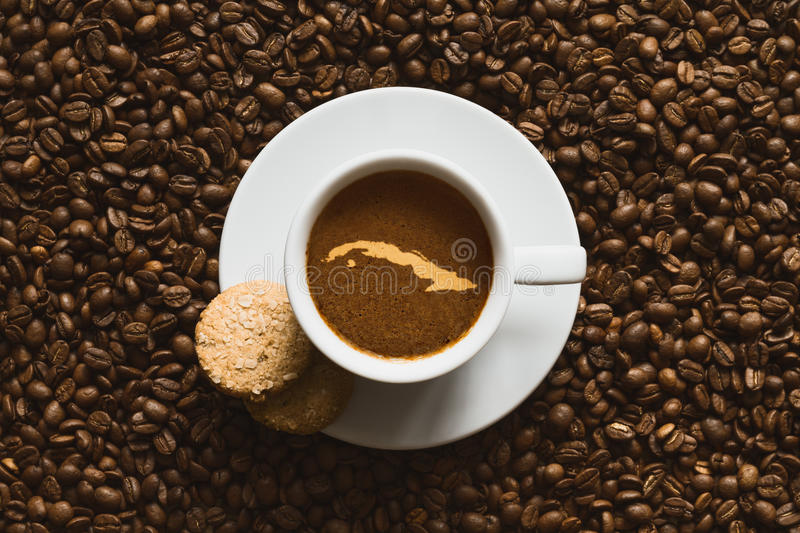 Still life - coffee with map of Cuba stock photos