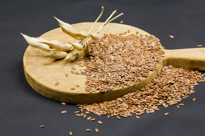 Still life composition with wooden kitchen cutting board, dried radish pods and flax seeds. On dark background stock images