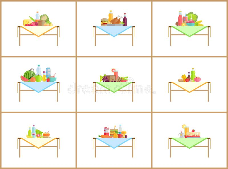 Still Life Compositions for Photo with Food Set stock illustration
