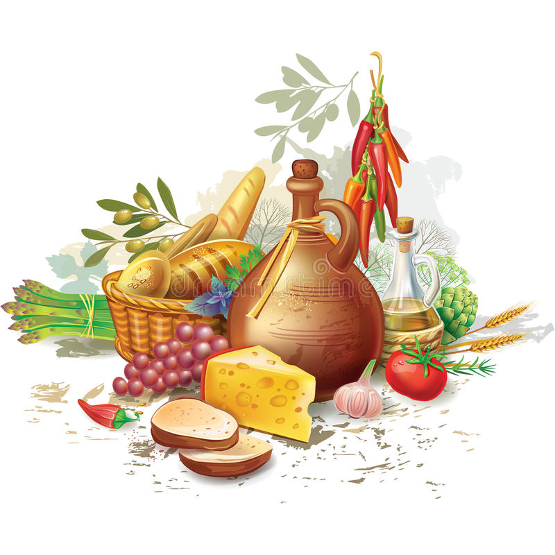 Still life with country food royalty free illustration