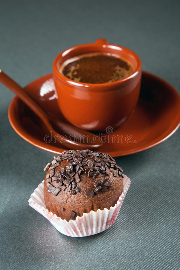 Still-life with a cup of coffee. And cakes royalty free stock image