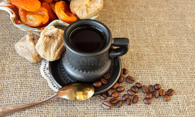 Still life with cup of coffee. Cup with coffee and dried fruit royalty free illustration