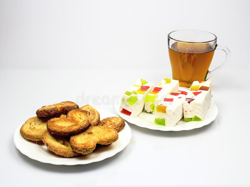 Still life with a cup of tea and biscuits royalty free stock photography