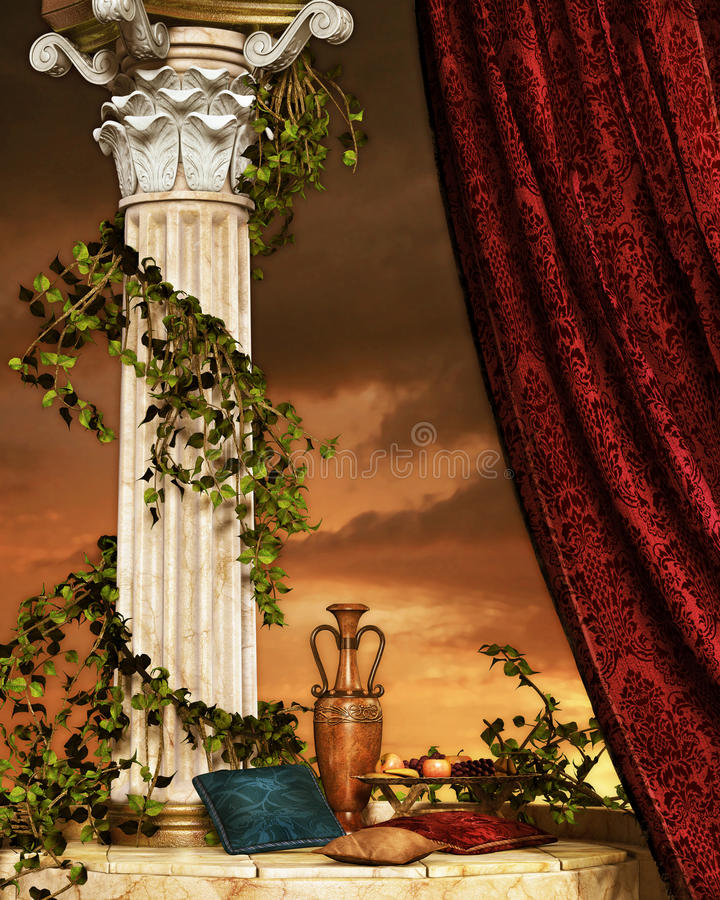 Still Life with curtain and column