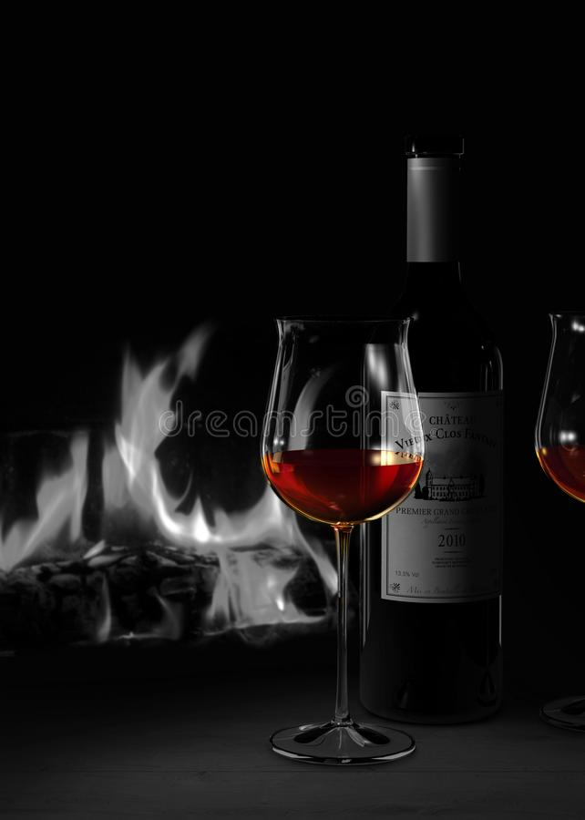 Still life in duplex colors showing a glass and a bottle of red wine in front of a cozy fire place vector illustration