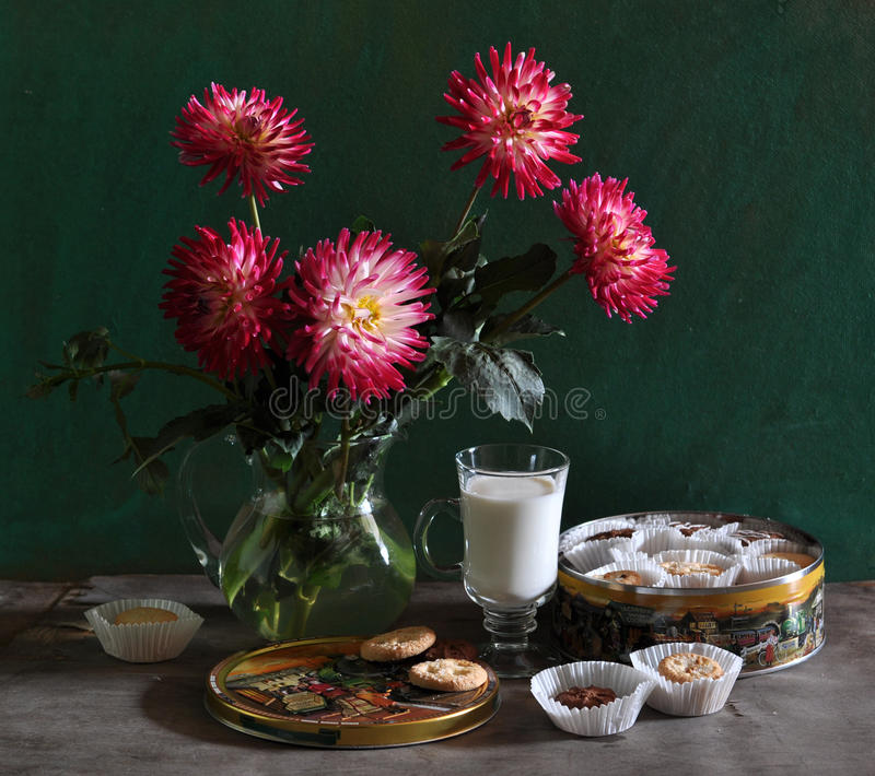Download Still Life With Dahlias, Thin Captain And Milk Royalty Free Stock Photography - Image: 15303007