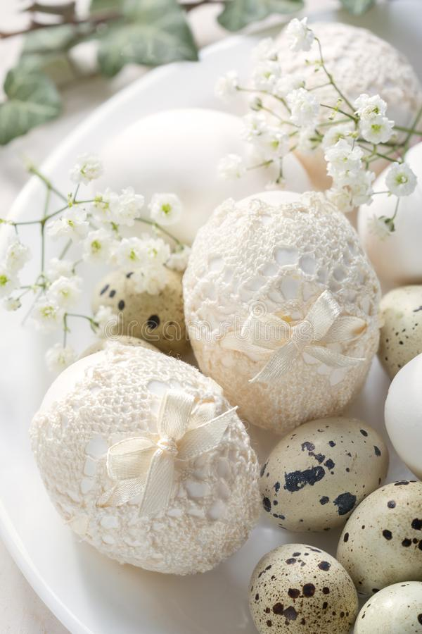 Still life with decorated Easter eggs in vintage style.  stock photography