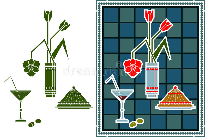 Download Still life with dessert stock vector. Image of decoration - 25605118