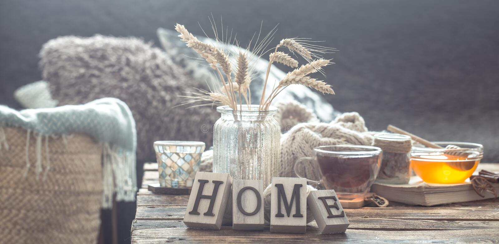 Still life details of home interior on a wooden table stock photography