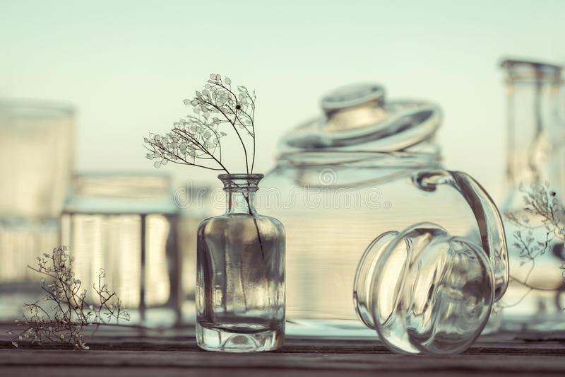 Still Life of Different Glassware - vintage style. Unique Still Life of Different Glassware - vintage style background royalty free stock images