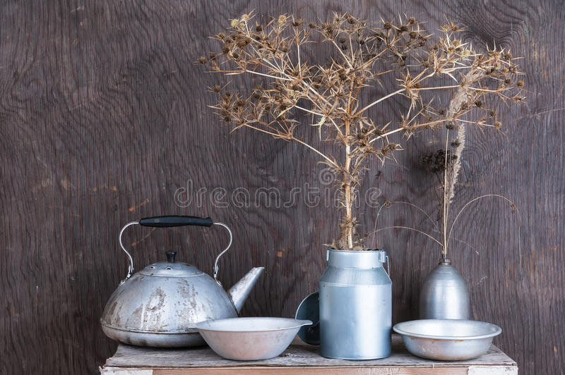Still life with dry prairie prickly flowers royalty free stock photography