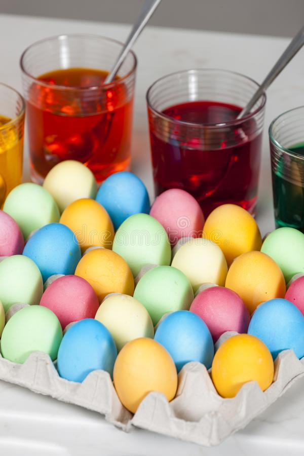 Still life of Easter eggs. Inside, indoors, interiors, object, celebration, motive, decoration, symbol, spring, tradition, dye, coloration, dying, painting royalty free stock photos