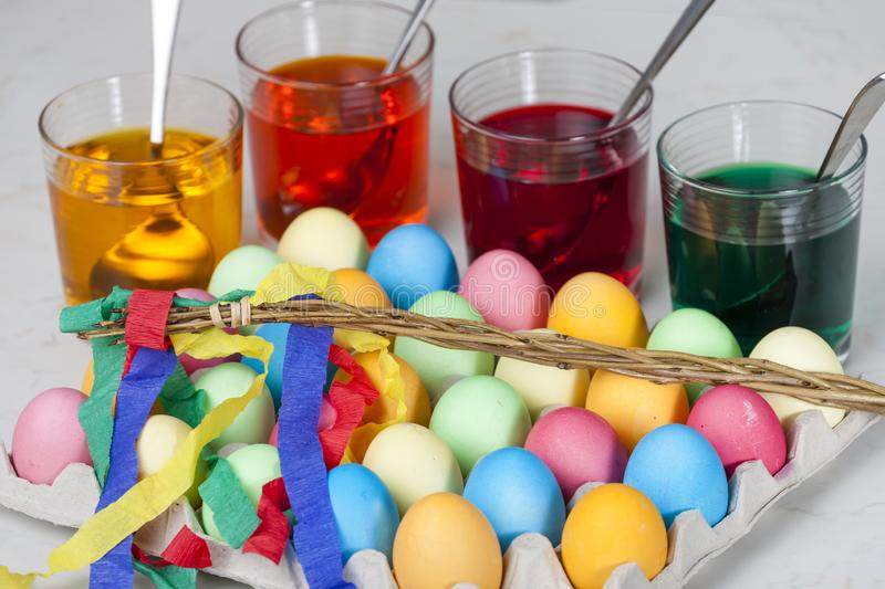 Still life of Easter eggs. Inside, indoors, interiors, object, celebration, motive, decoration, symbol, spring, tradition, dye, coloration, dying, painting stock photo