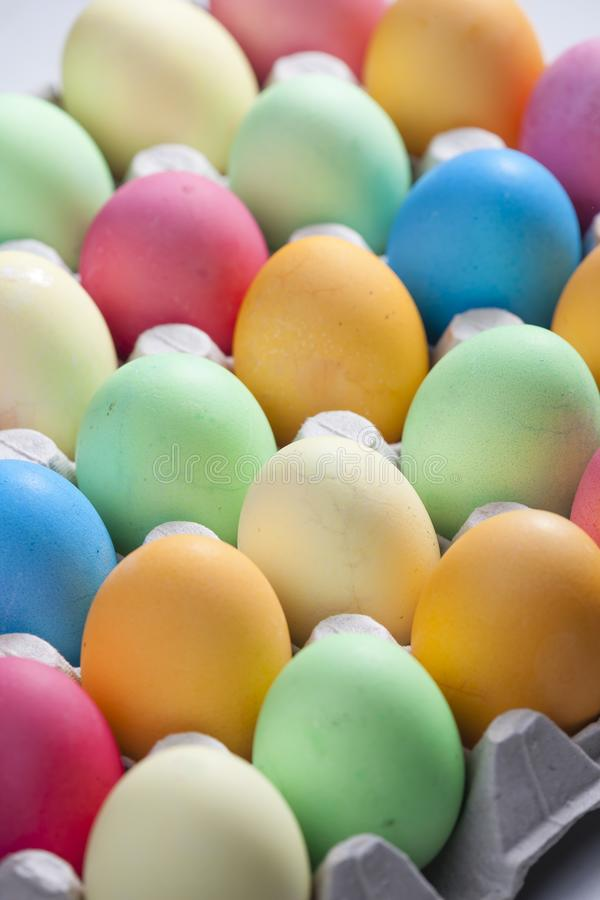 Still life of Easter eggs. Inside, indoors, interiors, object, celebration, motive, decoration, symbol, spring, tradition, coloration, dying, painting, colors royalty free stock photography