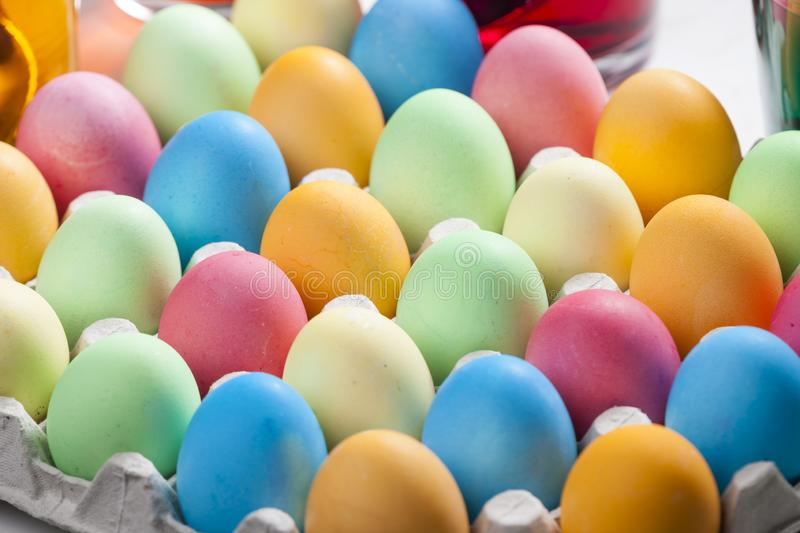 Still life of Easter eggs. Inside, indoors, interiors, object, celebration, motive, decoration, symbol, spring, tradition, coloration, dying, painting, colors stock images