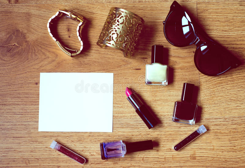 Still life of fashion woman with blank space royalty free stock photos