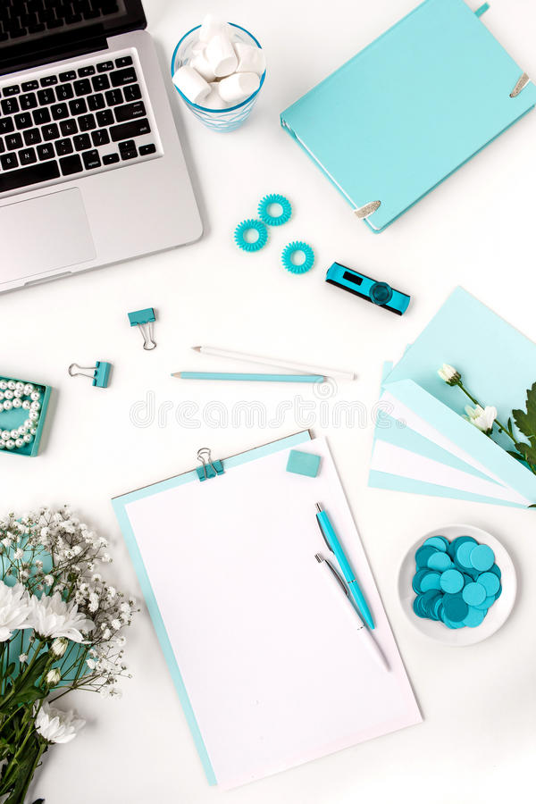 Still life of fashion woman, blue objects on white stock photos