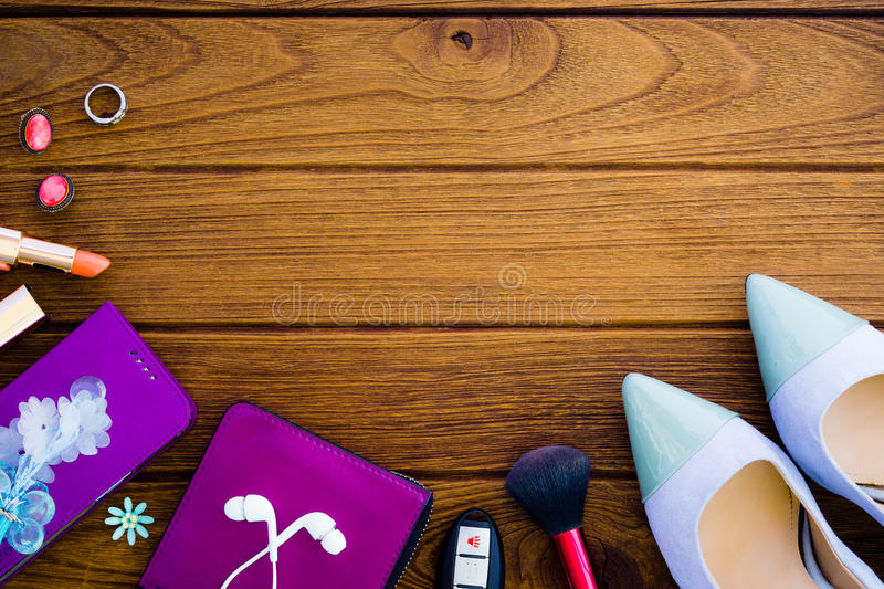 Still life of fashion woman. Feminine cosmetic background. Overhead of essentials fashion woman objects concept top view with cop stock photo