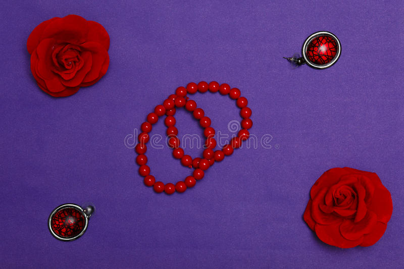 Still life of fashion woman. Feminine scessories background. Overhead essentials objects, flat lay, top view stock photography