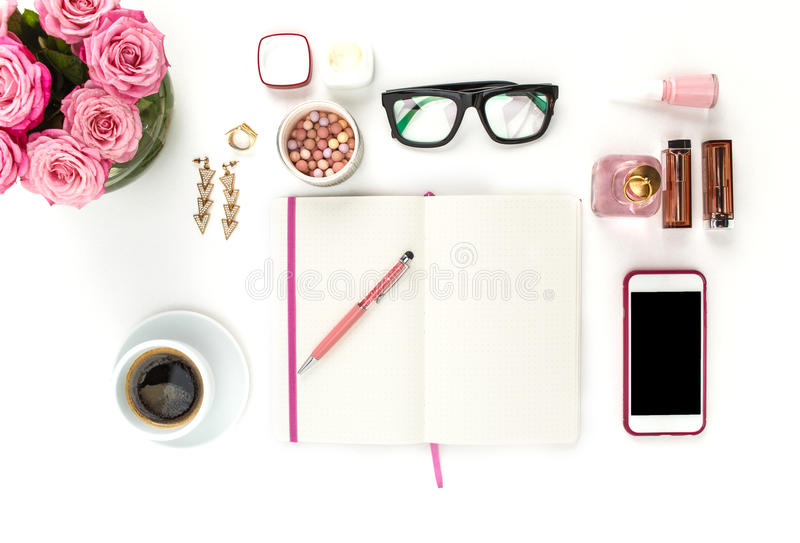 Still life of fashion woman, objects on white stock image