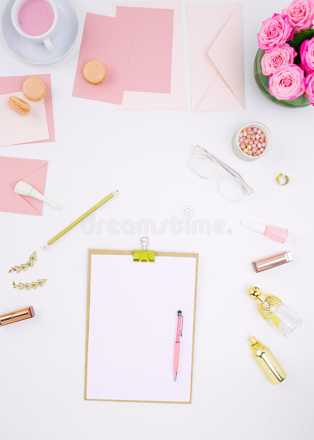 Still life of fashion woman, objects on white royalty free stock photo