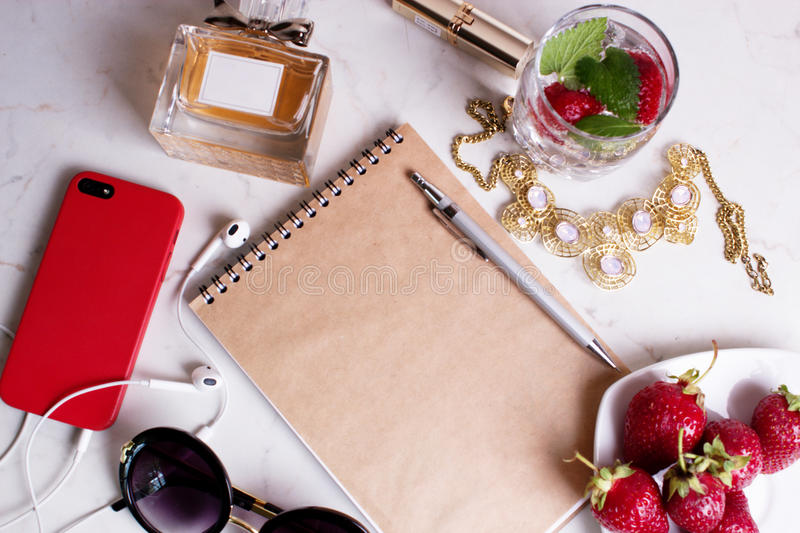 Still life of fashion woman objects on white. royalty free stock image