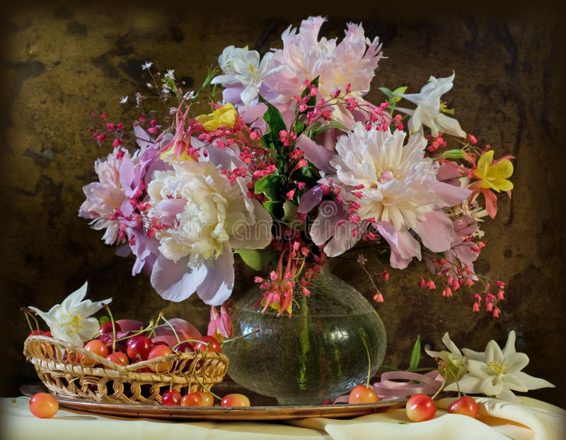 Still life with flowers peonies beauty stock image