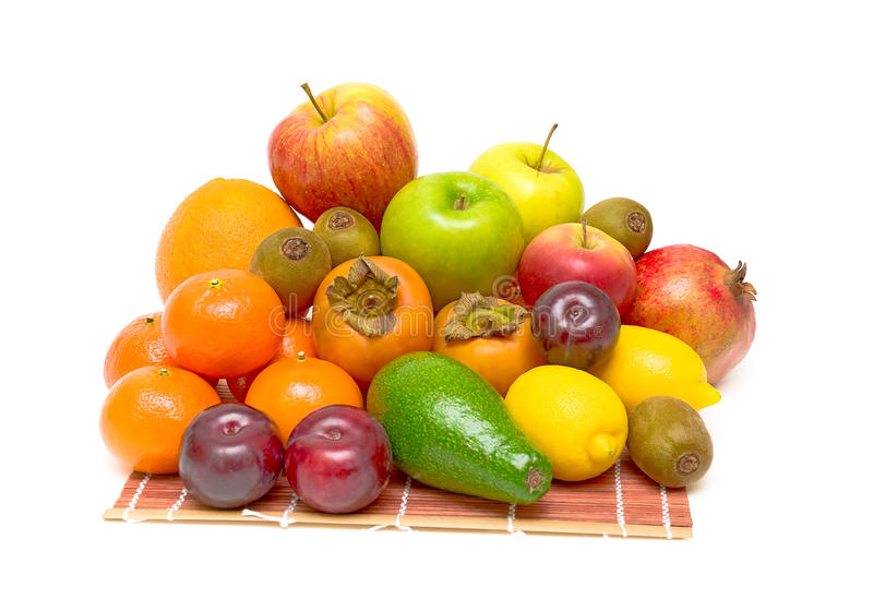 Still life of fresh fruits on white background stock images