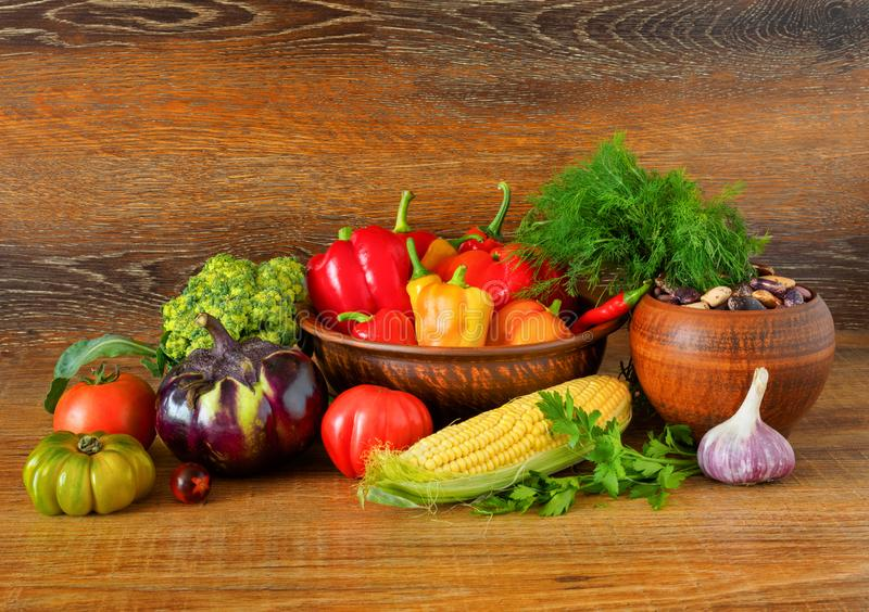 Still life of fresh, natural vegetables royalty free stock photography