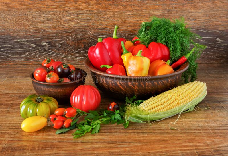 Still-life from fresh vegetables produced by farmers stock photo