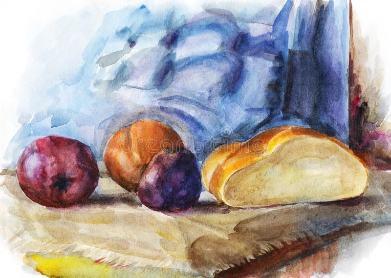 Still Life With Fruit And Half Of Bread Stock Photo