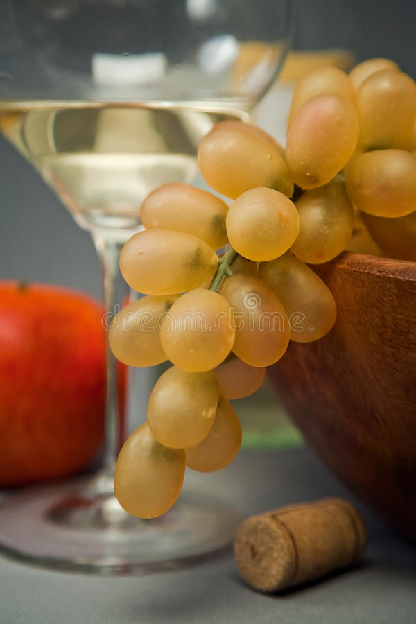 Still-life With Fruit And Wine Glass Stock Photos