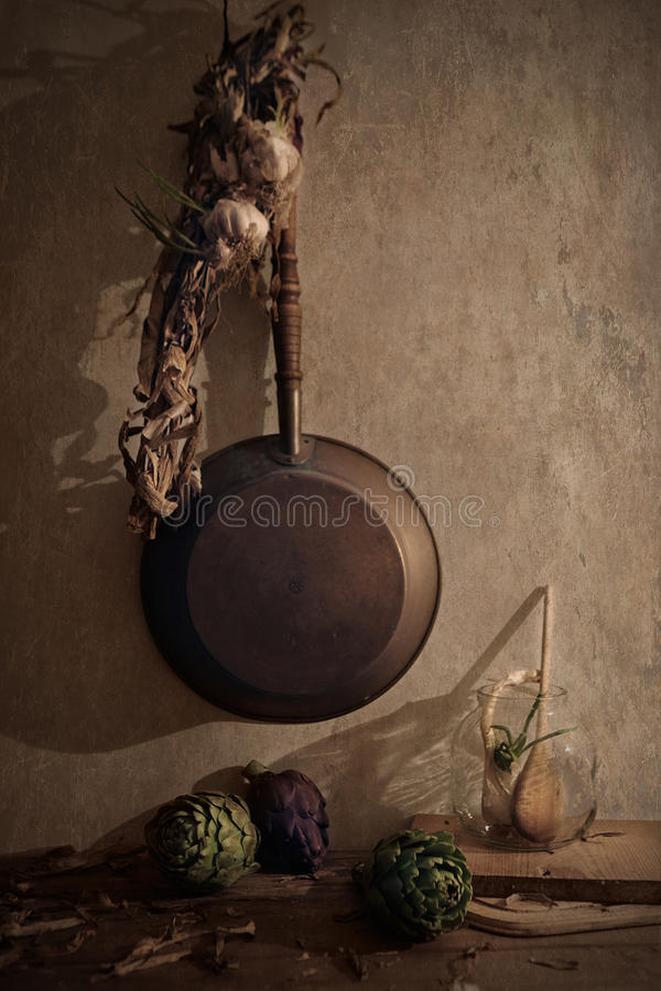 Still life with garlic royalty free stock photography