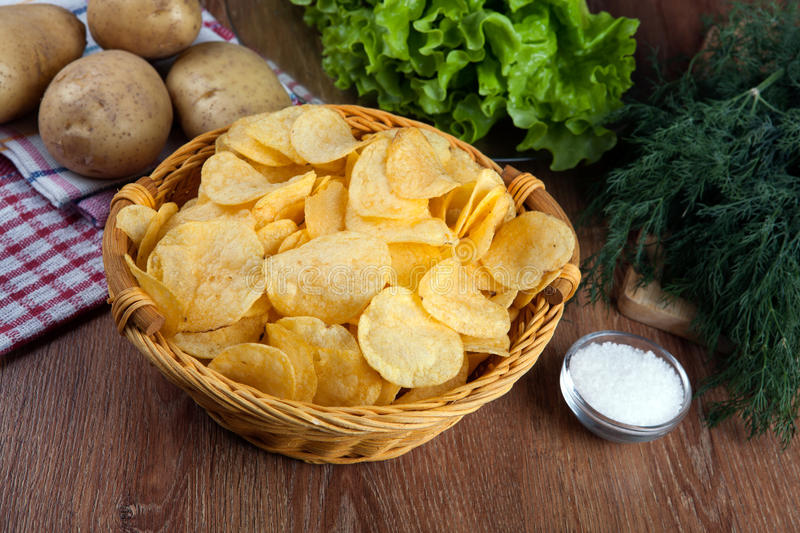 Still life from a glass bowl with potato chips royalty free stock photo